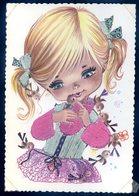 Cpsm Petit Fille -- Carte Avec Tissus Sept18-01 - Brodées