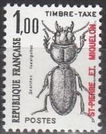 Saint-Pierre Et Miquelon 1986 Yvert Taxe 87 Neuf ** Cote (2015) 0.70 Euro Coléoptère Scaritus Laevigatus - Timbres-taxe