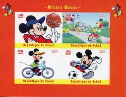 Chad 2018 MNH Mickey Mouse Basketball Football Bicycles Goofy 4v IMPF M/S Disney Cartoons Stamps - Disney