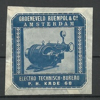 AMSTERDAM Netherlands Advertising Stamp Electro-Technisch Bureau Groeneveld Ruempol - Erinnofilie