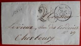 19637# SEINE MARITIME LETTRE TAXE DOUBLE TRAIT 25 CENTIMES Obl HAVRE A (74) A 1853 INGOUVILLE - Storia Postale
