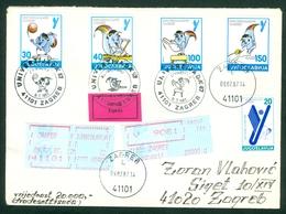 Yugoslavia 1987 Universiade Olympics Volleyball Rowing Gymnastics Swordplay Fence Canoe Kayak Squirrel Valuable Letter - 1945-1992 République Fédérative Populaire De Yougoslavie