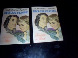 """Publicitee 2 Cartes  IDENTIQUES  """"  Parfumees""""  Brillantine- Parfum  ROJAFLORE  Bouquet De Fleurs Estampillees Kheller - Cartes"""