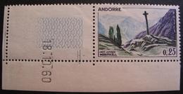 FD/2428 - 1961 - ANDORRE - N°158 COIN DE FEUILLE DATE NEUF** - Andorre Français