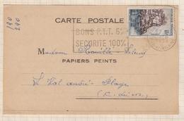 8AK2960 CARTE COMMERCIALE PAPIERS PEINTS PAUL GRUIN PARIS POUR LE VAL ANDRE  2 SCANS - Marcophilie (Lettres)