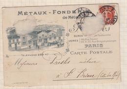 8AK2962 CARTE COMMERCIALE 1907 METAUX FONDERIE PARIS POUR PRESLES ST BRIEUC  2 SCANS - Marcophilie (Lettres)