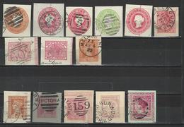 14 Ganzsachenausschnitte / Cuts From Postal Stationery - 1850-1912 Victoria