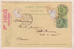 8AK2966 CARTE COMMERCIALE 1907 TANCRE VERVIERS POUR PRESLES ST BRIEUC  2 SCANS - Marcophilie (Lettres)