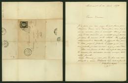 LETTRE FRANCE - POSTES RURALES- YV 3 COURT EN BAS- OBLITERE GRILLE NOIRE DE WALINCOURT- 30/04/1950 A SAINT AMAND - LL853 - Postkaarten