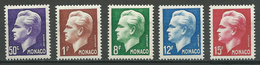 Monaco YT N°344-345-346-347-348 Prince Rainier III Neuf ** - Neufs