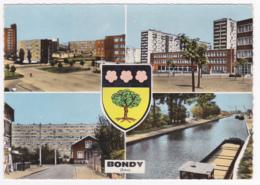 """Bondy - Multivues """"Cité Commercial, Résidence De La Noue Caillet, Rue Bordier, Canal De L'Ourcq"""" Blason Au Centre, 1964 - Bondy"""