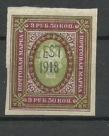 "Estland Estonia 1918 Fantasy OPT  ""EESTI 1918"" On Imperial Russian Stamp MNH - Estonia"