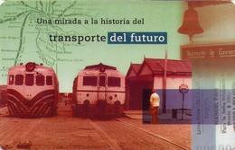 TARJETA TELEFONICA DE ARGENTINA.COCHES MOTORES EN ESTACIÓN COMODORO RIVADAVIA, TLF-F103A, (046) - Trains