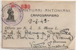 Ricevuta Di Offerta Del Santuario Antoniano Di Camposampiero (Padova), Anno 1949 - Devotion Images