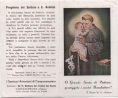 Santino Con Calendarietto 1943 Del Santuario Antoniano Di Camposampiero (Padova) - Devotion Images