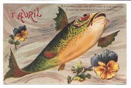 1ER AVRIL - POISSON D'AVRIL - Carte Gaufrée - 1er Avril - Poisson D'avril