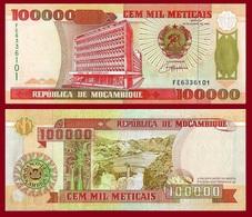 Mozambique P139, 100,000 Meticais, Bank Bldg / Cahora Bassa Dam, UNC See UV, $14 - Mozambique