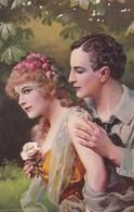 AK Mann Und Frau Mit Blumen - Hast Du Mich Lieb? - Pardonne Moi! - Künstlerkarte - Ca. 1920 (36608) - Paare