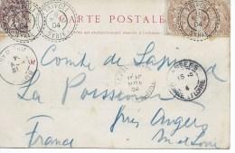 CP Cad  TRIPOLI SYRIE  8 Nov 1904 Pour ANGERS  TB - Syria (1919-1945)