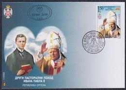 Bosnia Republic Of Srpska 2003 Pope John Paul II, FDC (First Day Cover) Michel 277 - Bosnia And Herzegovina