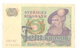 Suéde : 4 Billets De 5 Et 10 Couronnes - Suède