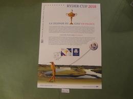 "2018  "" RYDER CUP 2018 LA LÉGENDE DU GOLF EN FRANCE "" - OBLITÉRATION 1ER JOUR 30.06.2018 - Documents De La Poste"