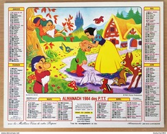 Calendrier Double - Almanach Disney: Blanche Neige Et Mickey Donald 1984 - Big : 1981-90