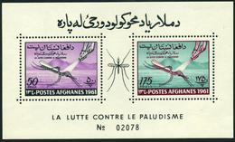 Afghanistan 518-519a Sheets A,B,MNH.Mi Bl.15A-15B. WHO Against Malaria,1961. - Afghanistan