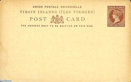 Virgin Islands 1887 Postcard PENNY HALFPENNY, (Unused Postal Stationary) - British Virgin Islands