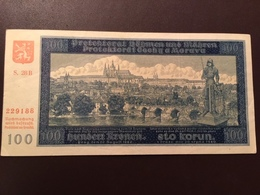 BOHEMIA MORAVIA P5 100 KORUM 28.08.1940 AUNC - Billets
