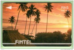 Fiji - Fintel - 1993 Second Issue - $5 Palms & Sunset - FIJ-FI-3b - VFU - Fiji