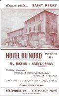 """CDV CARTE DE VISITE FACTURE  """"HOTEL DU NORD """" CUISINE CHAMBRES R. BOIS SAINT-PERAY 07 ARDECHE NOT AU VERSO - Cartes De Visite"""