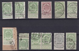 LOT ARMOIRIE  Telegraphique Griffe Assuré , Convoyeur , Expres , Cachet à Pont  , Obliteration 1910 BXL Et Enghien - 1893-1907 Coat Of Arms