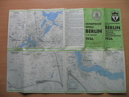 OLYMPISCHE SPIELE BERLIN 1936.KURZER PLANFUHRER DURCH BERLIN MIT SONDERKARTEN VON POTSDAM GRUNAU UND DEM REICHSSPORTFELD - Maps