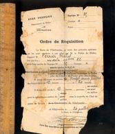 Militaire Guerre WWII 1940 1944 : Ordre De Réquisition Etat Français Commune De Villefranche Sur Saône Rhône - Historical Documents