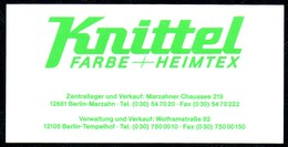 B7248 - Berlin Marzahn - Knittel Farbe Heimtex - Visitenkarte - Visitenkarten