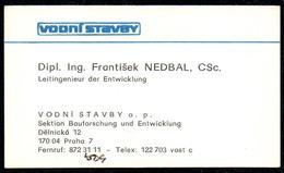 B7324 - Prag Praha - Vodni Stavby - Frantisek Nedbal - Visitenkarte - Visitenkarten