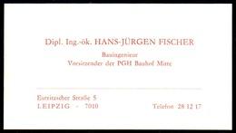 B7331 - Leipzig - PGH Bauhof - Hans Jürgen Fischer - Visitenkarte - Visitenkarten