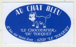 AUTOCOLLANTS . STICKER .AU CHAT BLEU . LE CHOCOLATIER DU TOUQUET . 47 BIS RUE SAINT JEAN . LE TOUQUET . - Stickers
