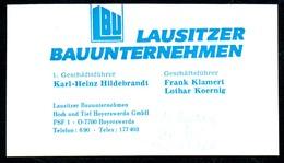B7334 - Hoyerswerda - LBU - Lausitzer Bauunternehmen - Karl Heinz Hildebrandt Frank Klamert Lothar Koernig Visitenkarte - Visitenkarten