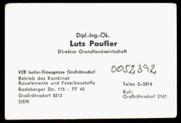 B7343 - Großröhrsdorf - VEB Isolier Erzeugnisse - Lutz Paufler Direktor - Visitenkarte - Visitenkarten