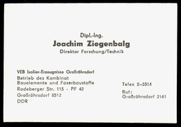 B7344 - Großröhrsdorf - DDR - VEB Isolier Erzeugnisse - Joachim Ziegenbalg Direktor - Visitenkarte - Visitenkarten