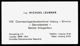 B7345 - Leipzig Grimma - DDR - VEB Chemieanlagenbaukombinat - Michael Leubner - Visitenkarte - Visitenkarten