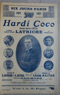 PARTITION MUSICALE CYCLISME SIX JOURS DE PARIS 1921 HARDI COCO LATRICHE - Partitions Musicales Anciennes