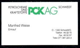 B7348 - Schwedt - PCK AG - Petrolchemie Kraftstoffe - Manfred Weise - Visitenkarte - Visitenkarten