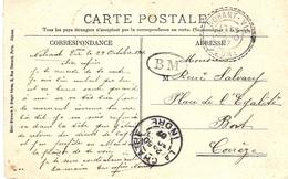 1907- C P A De La Châtre ( Marché ) Oblit. La Châtre ( Indre ) + Cad Facteur Receveur De Nohant-Vis  + B M - Marcophilie (Lettres)