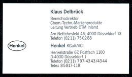 B7351 - Düsseldorf - Henkel - Chem. Techn. Merkenprodukte - Klaus Delbrück - Visitenkarte - Visitenkarten