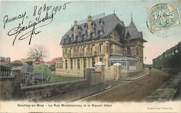 - Seine Maritime -ref-B846- Gournay En Bray - Rue Montmorency Et Nouvel Hotel - Hotels - Carte Colorisee Bon Etat - - Gournay-en-Bray
