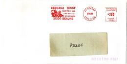 VIGNE & VIN = 21 BEAUNE  1988 = FLAMME ROUGE = EMA Illustrée  = Bernard BIDOT / Courtier En Vins - Postmark Collection (Covers)