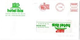 VIGNE & VIN = 21 BEAUNE  1988 = FLAMME ROUGE = EMA Illustrée  = FERME Aux VINS + HOTEL IBIS - Postmark Collection (Covers)